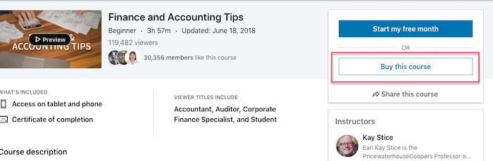 linkedin learning buy this course