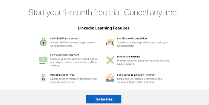 linkedin learning 1-month free trial