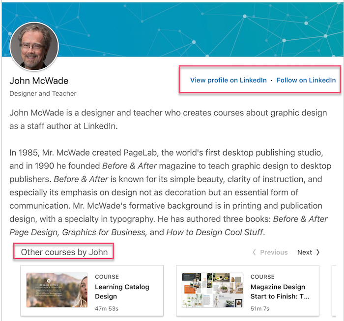 linkedin learning instructor bio