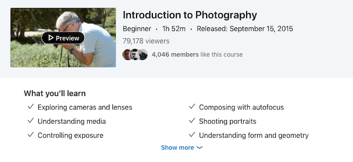 LinkedIn Learning Introduction to Photography