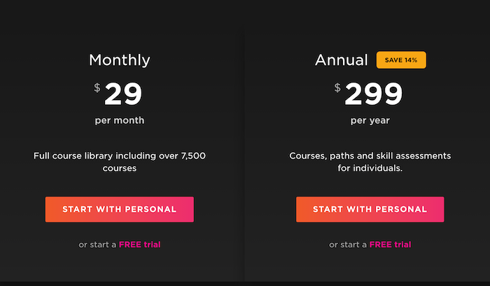 Pluralsight individual subscription plans