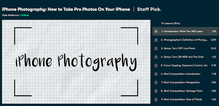 Skillshare iPhone Photography: How to take pro photos on your iPhone