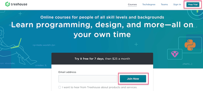 Treehouse Join Now
