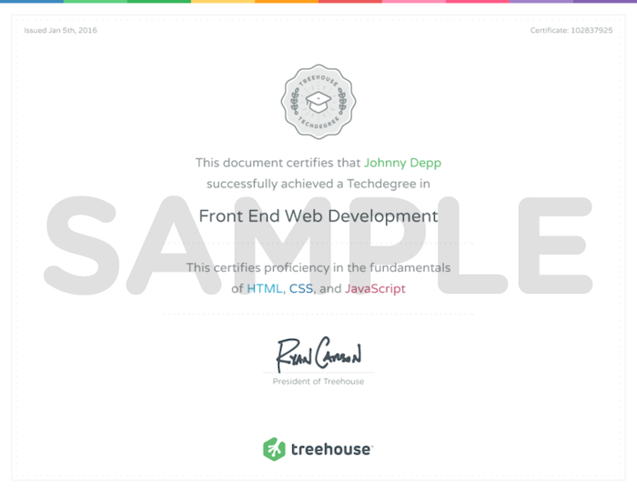 Treehouse sample certificate of techdegree
