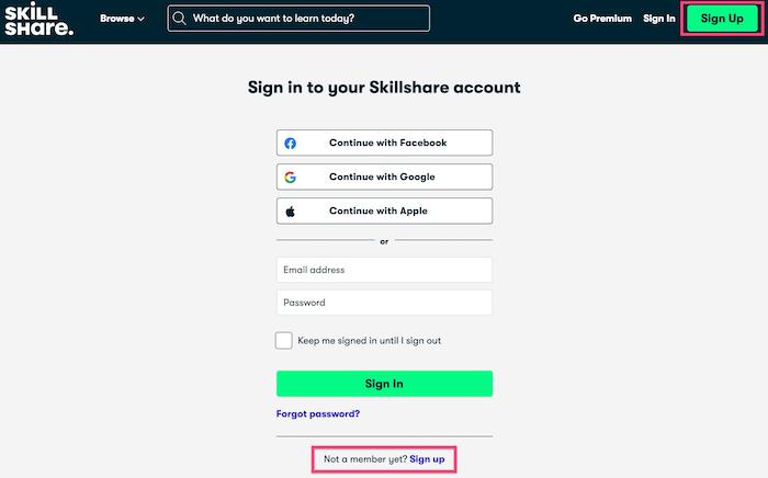 Skillshare sign up for free