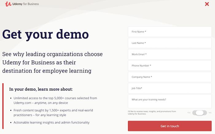 Udemy Enterprise Get your demo