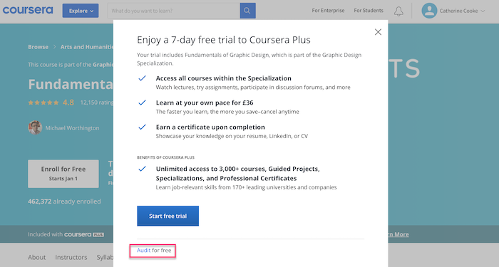 Coursera Audit for free