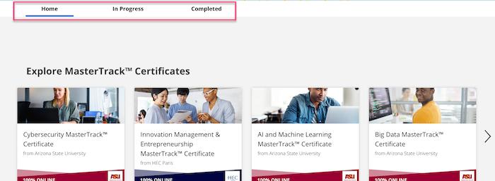 Coursera learning status