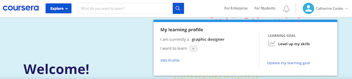 Coursera My learning profile