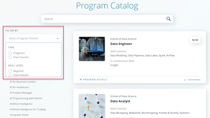 Udacity Filter By