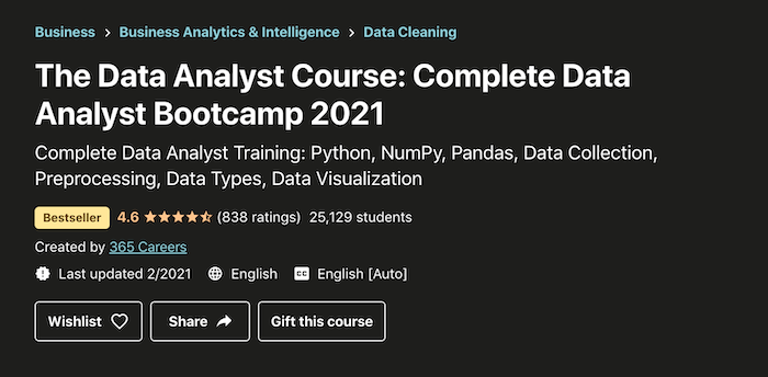 Data Analyst Udemy Courses