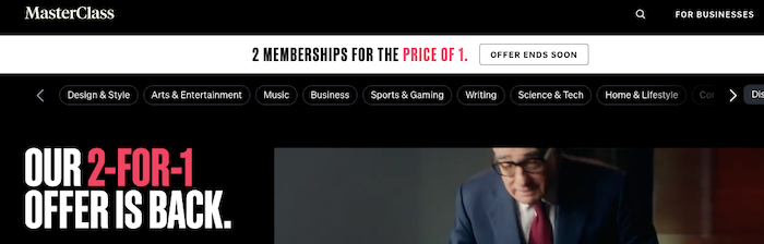 MasterClass offers 2 memberships for price of 1