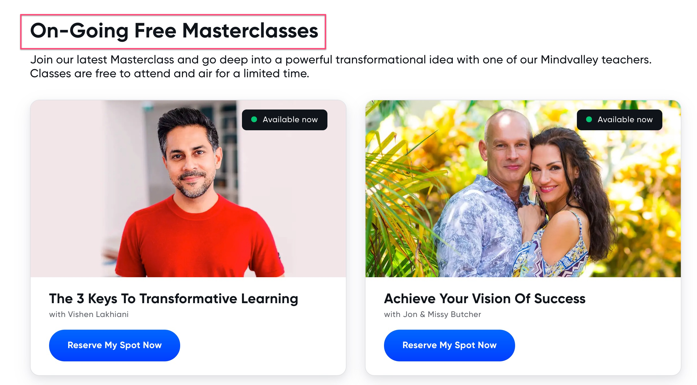 On-Going Free Mindvalley Masterclasses