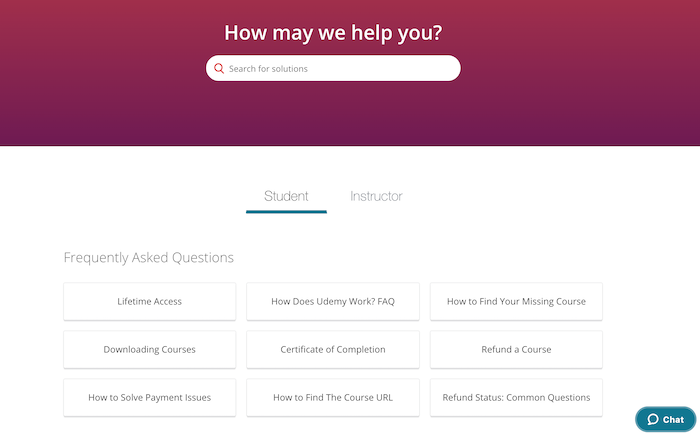 Udemy support system