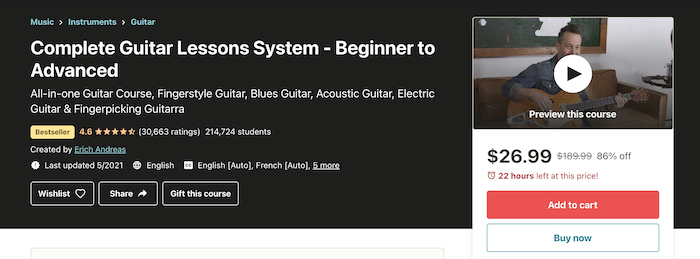 Udemy Complete Guitar Lessons System - Beginner to Advanced