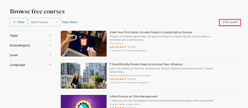 Udemy Free Course Filters