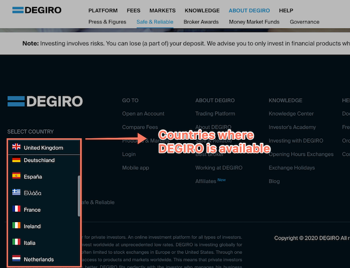 degiro is available in 18 countries