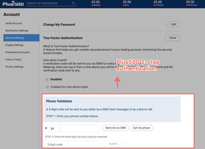 plus500 2 step authentication