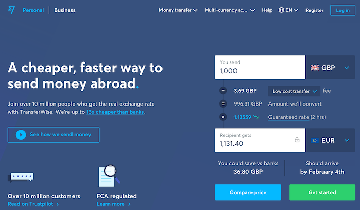 save exchange fees using transferwise to add funds